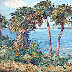 Albert Ernest Backus - gentle breezes wind swept palms