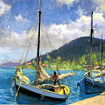 Albert Ernest Backus - gentle breezes sailboats moored