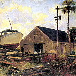 Albert Ernest Backus - gentle breezes boat in dry dock