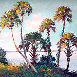 Albert Ernest Backus - gentle breezes view through the palms