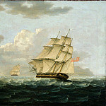 Thomas Buttersworth - A British Frigate in Pursuit of a French Frigate