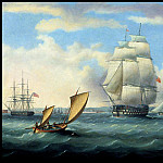 Thomas Buttersworth - Euryalus (Capt. Blackwood) Thunderer and Ajax leaving Plymouth on the way to Cadiz