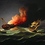 Thomas Buttersworth - The East Indiaman Kent on Fire in the Bay of Biscay