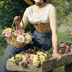 Gaetano Bellei - A beauty holding a basket of roses