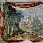 Musei Vaticani - fresco - View of a Fortress on a River