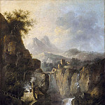 Mountainous Landscape with a Waterfall, Louis Belanger