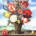 Ambrosius II Bosschaert - bouquet of flowers on ledge