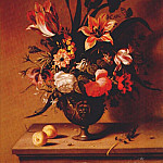 Ambrosius II Bosschaert - the-younger flowers in bronze vase c1640