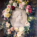 Fritz Von Uhde - Joan of Arc, Relief Portrait with Flowers