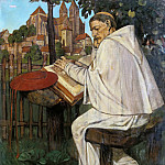 Franz Skarbina - Reading monk
