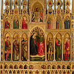 Giovanni di Paolo - Montelparo Altarpiece - Coronation of the Virgin, Christ Taken Down from the Cross, and Saints