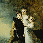 Sir Henry William Beechey - Three Children with a Dog in a Landscape