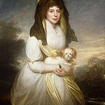 Portrait of Queen Charlotte, Three-Quarter Length, in a White Dress, a Yellow Shawl and Black Mantilla, Holding a Maltese Dog, Al Black