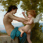 A Young Girl Defending Herself against Eros, Adolphe William Bouguereau