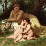 Young Woman Contemplating Two Embracing Children, Adolphe William Bouguereau