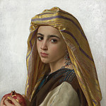 GIRL WITH A POMEGRANATE, Adolphe William Bouguereau