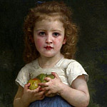 Adolphe William Bouguereau - Little girl holding apples in hands