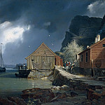 Theodor Hildebrandt - Solsvik fishing village, Norway