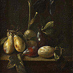 Still Life with an Iris and Plums [Attributed], Pietro Paolo Bonzi