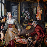 Joachim Beuckelaer - Иоахим Бейкелар - Четыре элемента: Огонь. [The Four Elements: Fire. A Kitchen Scene with Christ in the House of Martha and Mary in the Background] NG London