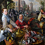 Joachim Beuckelaer - The Four Elements Air. A Poultry Market with the Prodigal Son in the Background NG London