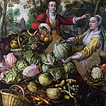 Joachim Beuckelaer - The Four Elements: Earth. A Fruit and Vegetable Market with the Flight into Egypt in the Background NG London