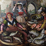 Joachim Beuckelaer - The Four Elements: Water. A Fish Market with the Miraculous Draught of Fishes in the Background NG London