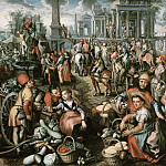 Joachim Beuckelaer - Market Scene, Ecce Homo, the Flagellation and the Carrying of the Cross