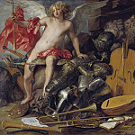 Triumphant Cupid among Emblems of Art and War