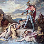 Julius Scholtz - Hagen Sinks the Nibelungen Treasure into the River Rhine