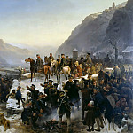 Julius Scholtz - Blucher crossing of the Rhine at Kaub on January 1, 1814
