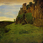 Jean-Baptiste-Camille Corot - Civita Castelland Buildings High in the Rocks aka La Porta San Salvatore