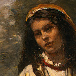 Jean-Baptiste-Camille Corot - Gypsy Girl with Mandolin, probably c. 1870-1875, Det(1