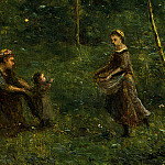 Jean-Baptiste-Camille Corot - The Eel Gatherers, c. 1860-1865, Detalj 3, NG Washingt