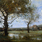 Jean-Baptiste-Camille Corot - Meadow with Two Large Trees