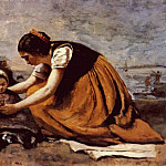 Jean-Baptiste-Camille Corot - mother and child on the beach c1860