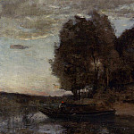 Jean-Baptiste-Camille Corot - Fisherman Boating along a Wooded Landscape