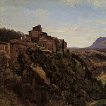 Jean-Baptiste-Camille Corot - Papigno Buildings Overlooking the Valley