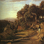 Jean-Baptiste-Camille Corot - A VIEW NEAR VOLTERRA, 1838, OIL ON CANVAS