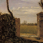 Jean-Baptiste-Camille Corot - Boid Guillaumi near Rouen A Gate Flanked by Two Posts