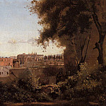 Jean-Baptiste-Camille Corot - Rome View from the Farnese Gardens Noon aka Study of the Coliseum