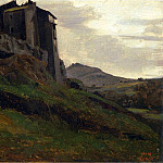 Jean-Baptiste-Camille Corot - Marino Large Buildings on the Rocks