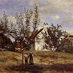 Jean-Baptiste-Camille Corot - An Orchard at Harvest Time