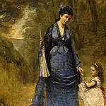 Jean-Baptiste-Camille Corot - Madame Stumpf and Her Daughter, 1872, Detalj 1, NG Was
