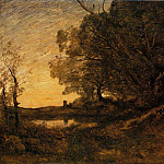 Jean-Baptiste-Camille Corot - Evening Distant Tower