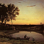 Jean-Baptiste-Camille Corot - Evening Landscape aka The Ferryman Evening