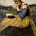 Jean-Baptiste-Camille Corot - Woman reading in a landscape 1869 The Metropolitan Mus