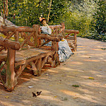 William Merritt Chase - Park Bench aka An Idle Hour in the Park Central Park