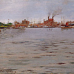 William Merritt Chase - Harbor Scene Brooklyn Docks