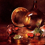 William Merritt Chase - Still Life Brass and Glass